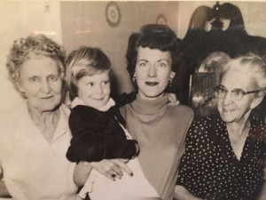 "Four Generations: Momma (far right), Ruby or ""Bucky"" (far left), Bette (right), and Tracey (left)."